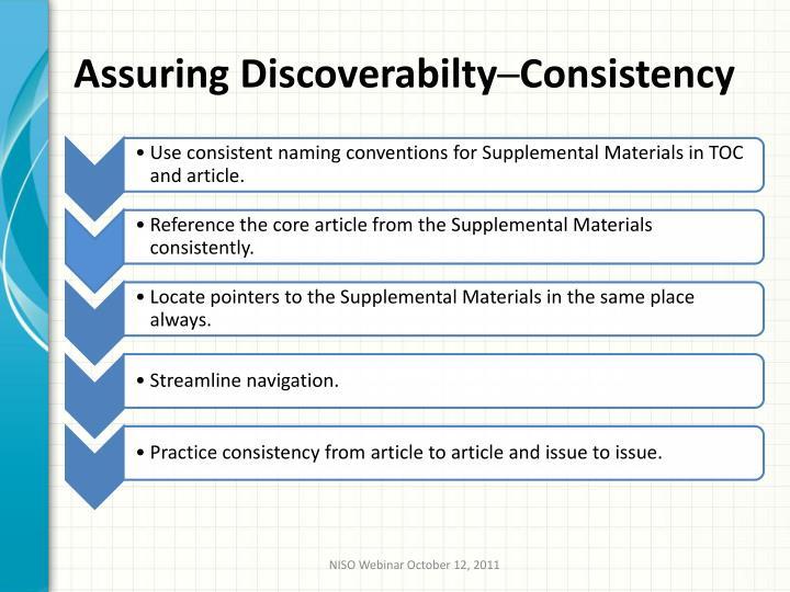 Assuring Discoverabilty─Consistency