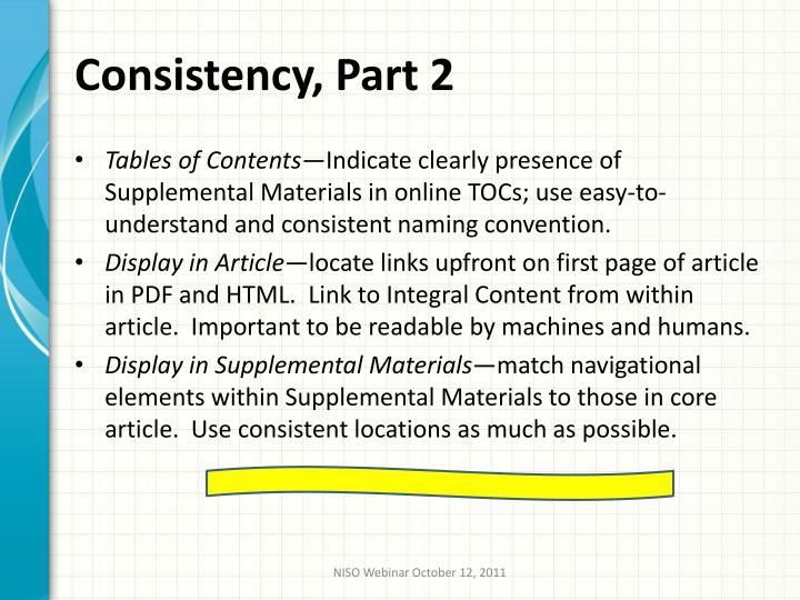 Consistency, Part 2
