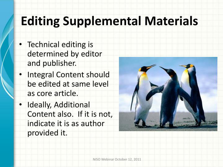 Editing Supplemental Materials