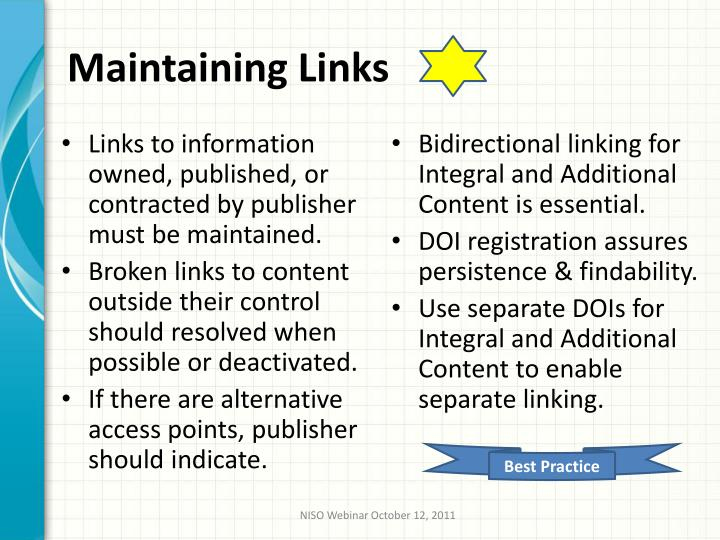 Maintaining Links