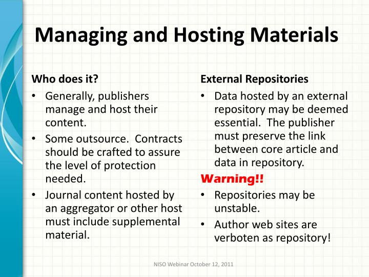Managing and Hosting Materials