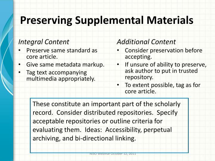 Preserving Supplemental Materials