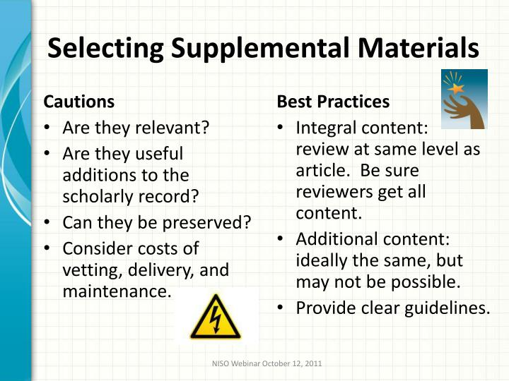 Selecting Supplemental Materials