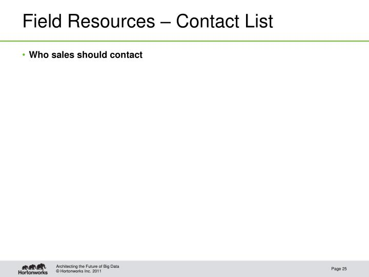 Field Resources – Contact List