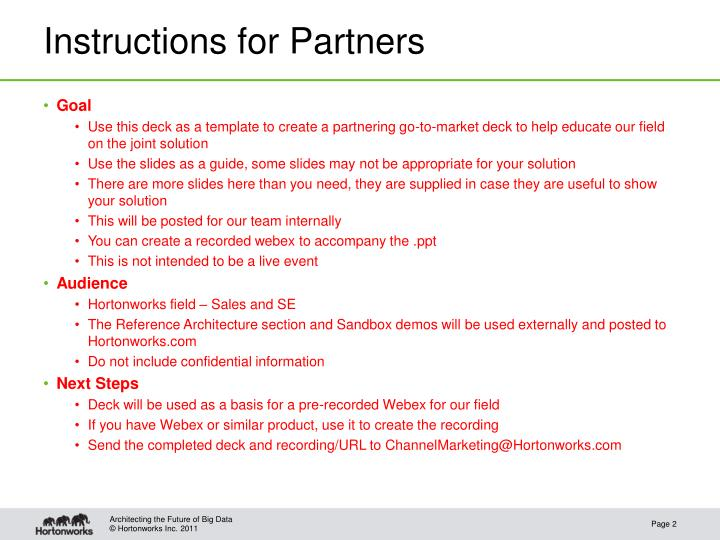 Instructions for Partners