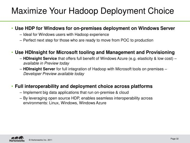 Maximize Your Hadoop Deployment Choice
