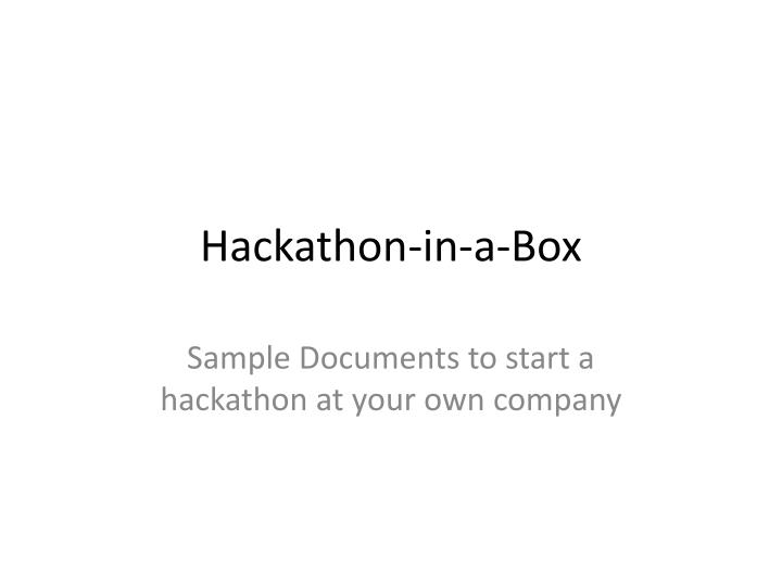 Hackathon in a box