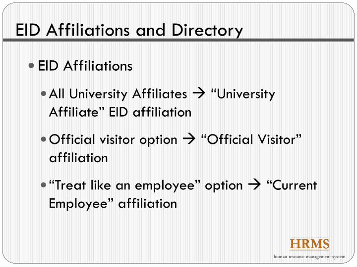 EID Affiliations and Directory