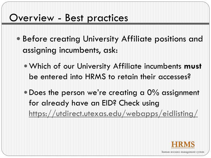 Overview - Best practices