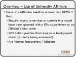 overview use of university affiliate