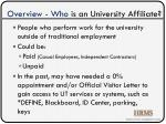 overview who is an university affiliate