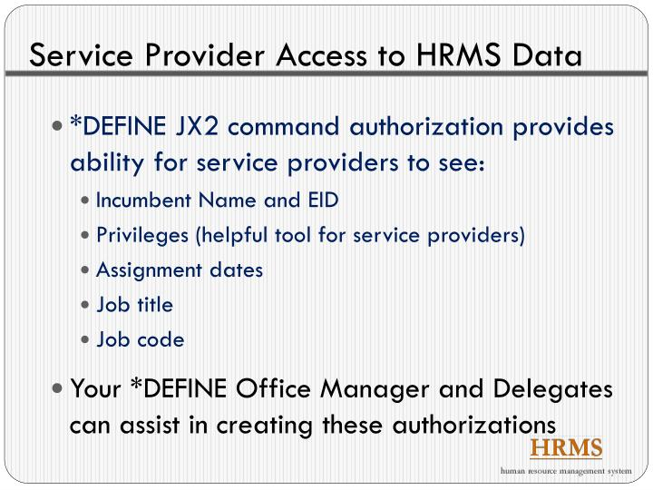 Service Provider Access to HRMS Data