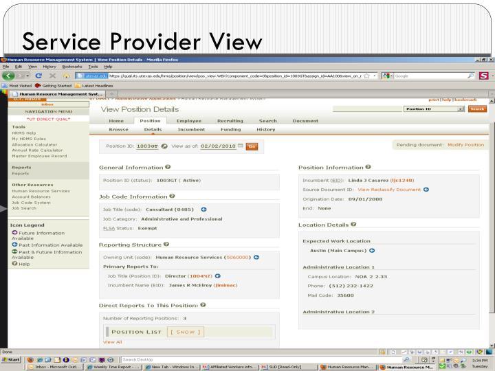 Service Provider View