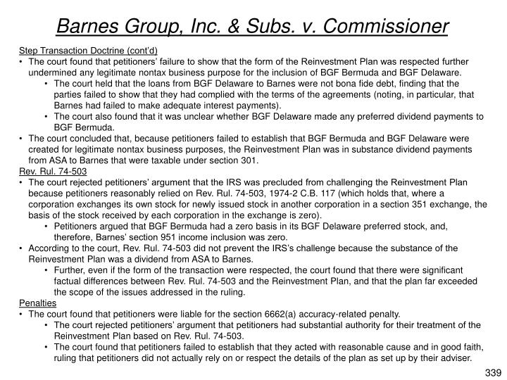 Barnes Group, Inc. & Subs. v