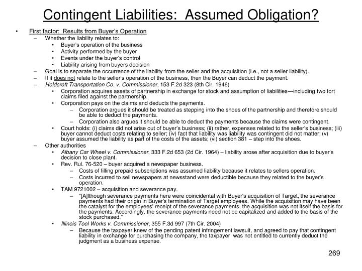 Contingent Liabilities:  Assumed Obligation?