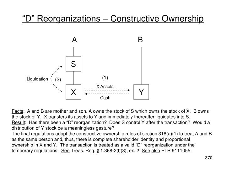 """D"" Reorganizations – Constructive Ownership"
