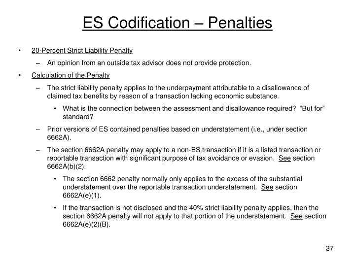 ES Codification – Penalties