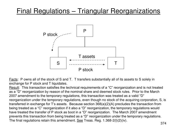 Final Regulations – Triangular Reorganizations
