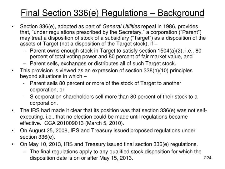 Final Section 336(e) Regulations – Background