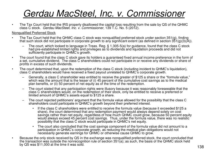 Gerdau MacSteel, Inc. v. Commissioner