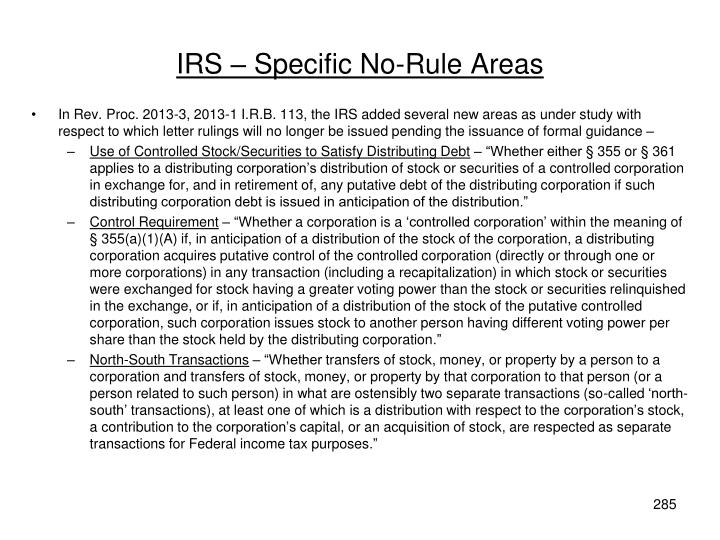 IRS – Specific No-Rule Areas