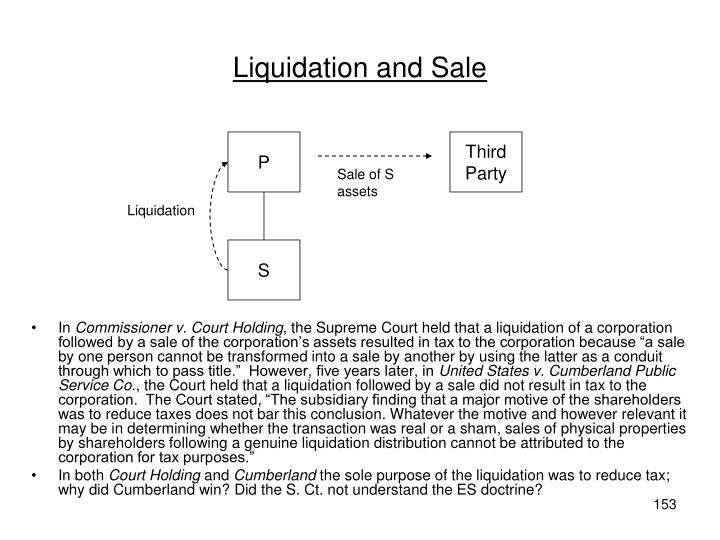 Liquidation and Sale