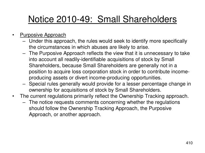 Notice 2010-49:  Small Shareholders