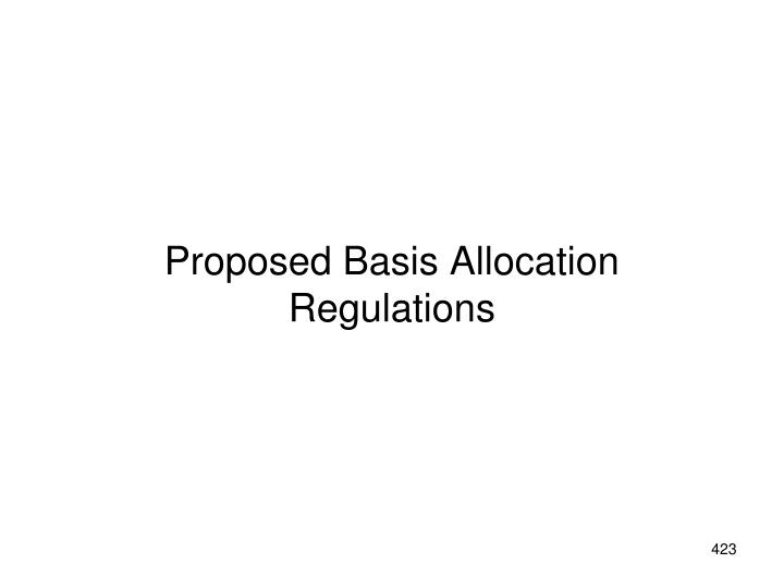 Proposed Basis Allocation Regulations
