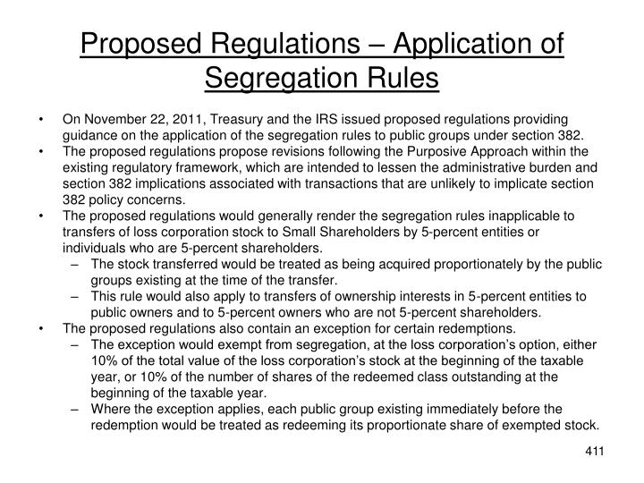 Proposed Regulations – Application of Segregation Rules