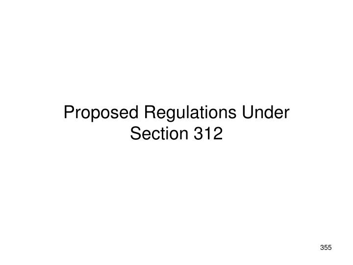 Proposed Regulations Under