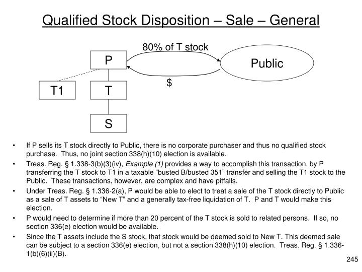 Qualified Stock Disposition – Sale – General