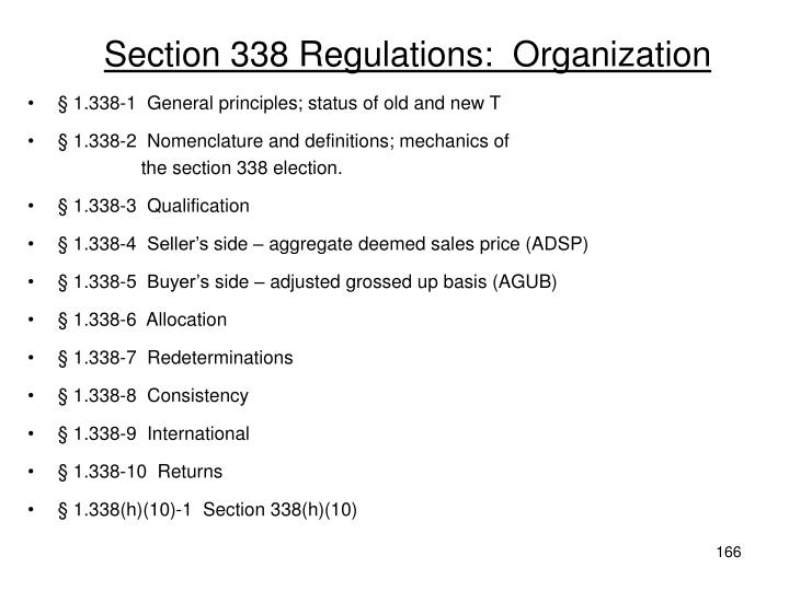 Section 338 Regulations: