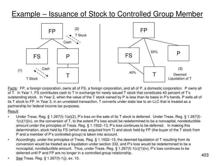 Example – Issuance of Stock to Controlled Group Member
