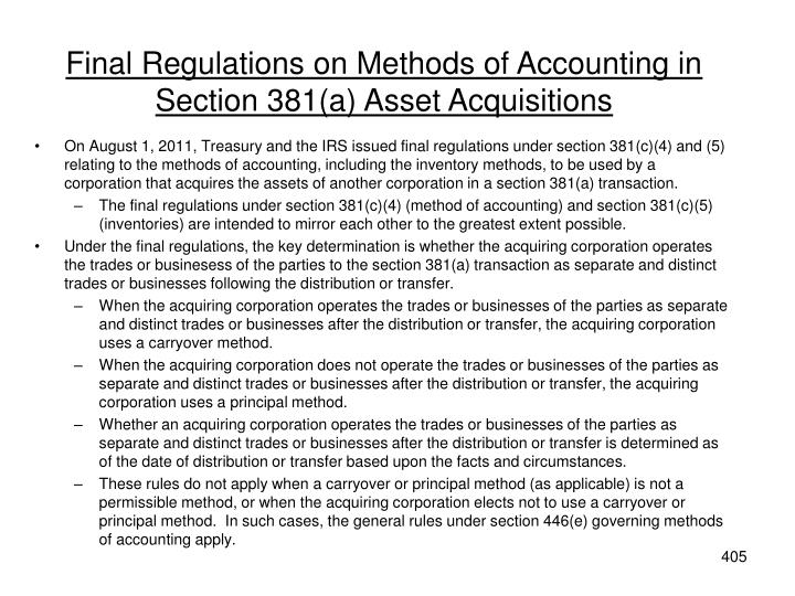 Final Regulations on Methods of Accounting in Section 381(a) Asset Acquisitions