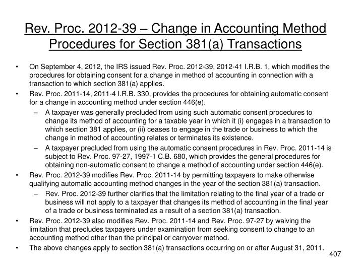 Rev. Proc. 2012-39 – Change in Accounting Method Procedures for Section 381(a) Transactions