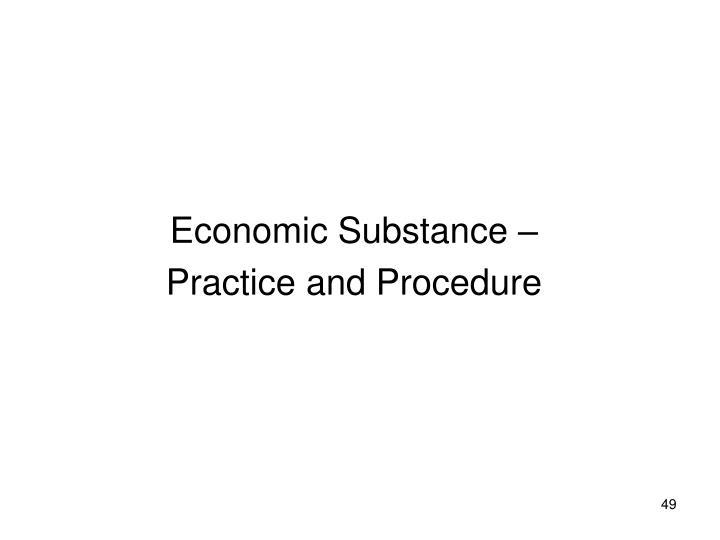 Economic Substance –