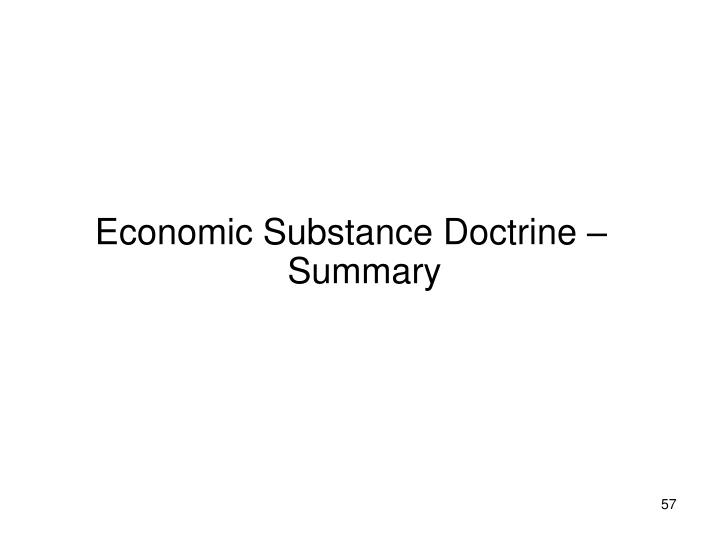 Economic Substance Doctrine – Summary