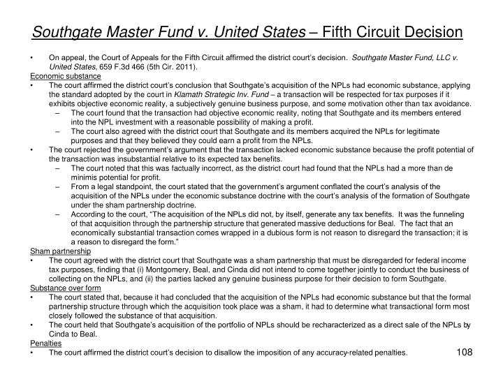 Southgate Master Fund v. United States –