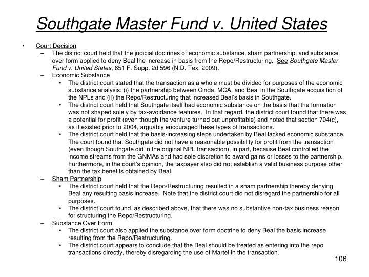 Southgate Master Fund v. United States