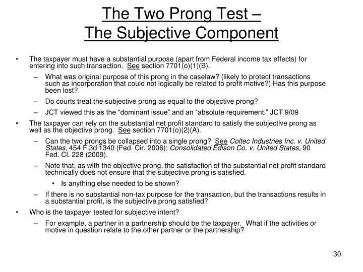 The Two Prong Test –