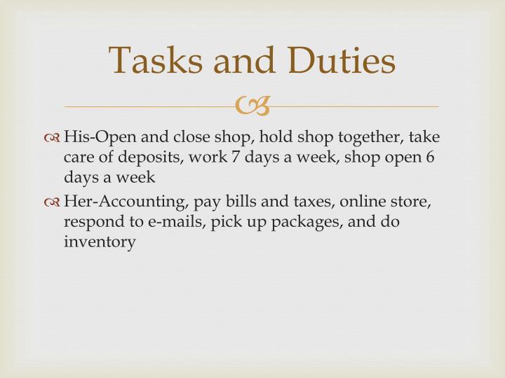 Tasks and Duties