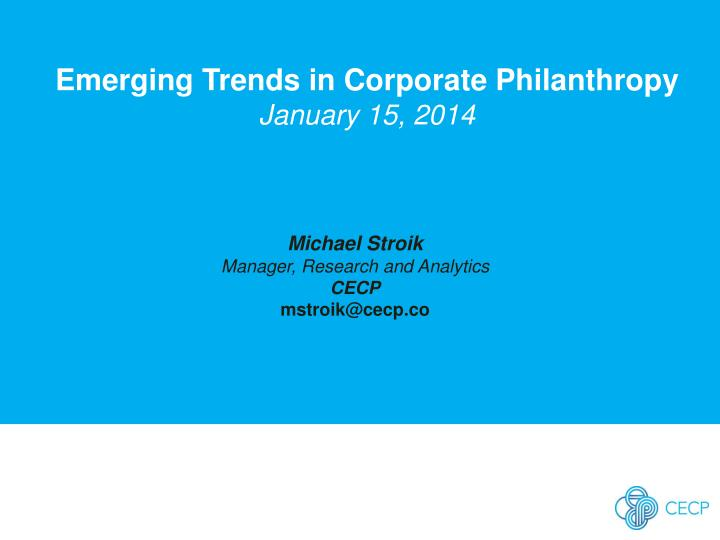 Emerging Trends in Corporate Philanthropy