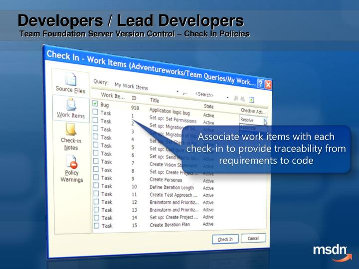 Associate work items with each