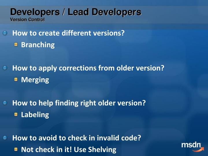 Developers / Lead Developers