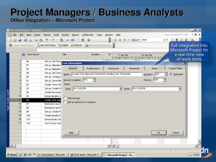 Full integration into Microsoft Project for