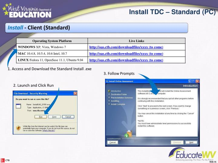 Install the TDC- Standard Install