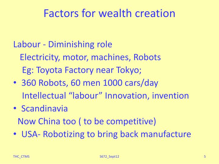 Factors for wealth creation