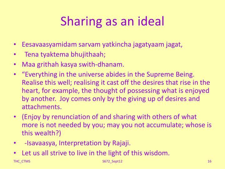 Sharing as an ideal