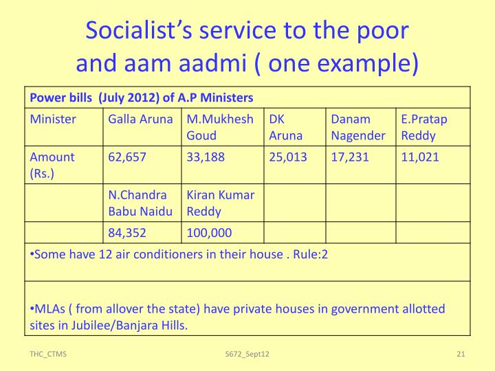 Socialist's service to the poor