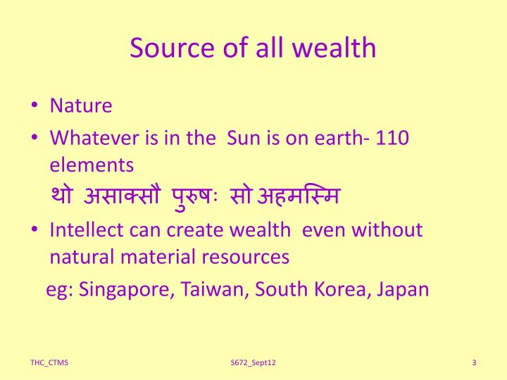Source of all wealth